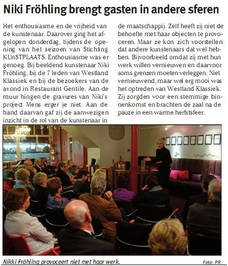 """Nikki Fröhling in Hoek van Holland in Restaurant Gentile met haar presentatie """"Mens erger je niet"""""""